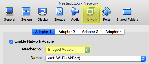Change network adapter settings