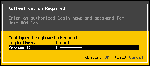 Login to the ESXi console